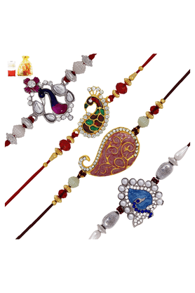 MAHI Crystal Gold & Rhodium Plated Peacock Bond Combo Of Four Rakhis