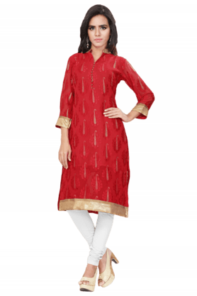 DEMARCA Womens Sequins Kurta (Buy Any Demarca Product & Get A Pair Of Matching Earrings Free)