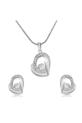MAHIMahi Rhodium Plated Bejeweled Pendant Set Of Brass Alloy With Crystal For Women NL1101726R