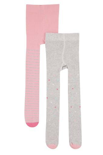 Girls Striped and Dot Pattern Tights - Pack of 2