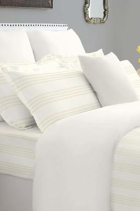SPACESForever Classic Stripe Ivory 400 TC Cotton King XL Bed Sheet With 4 Pillow Covers