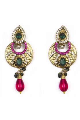 TRIBAL ZONE Moon Shaped Ethnic Golden Earrings With White, Green And Pink Stones And Pearl