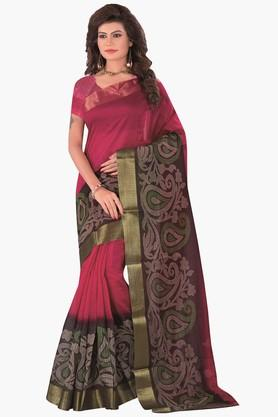 DEMARCA Womens Printed Gold Woven Saree - 201811326_9557