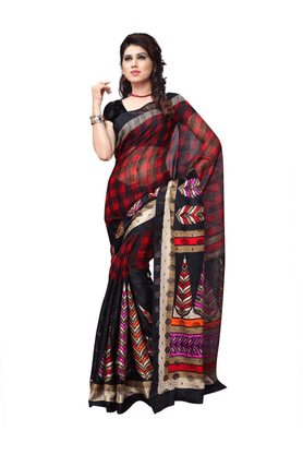 DEMARCA De Marca Black Art Silk Designer DF-533B Saree