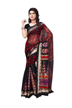 DEMARCADe Marca Black Art Silk Designer DF-533B Saree