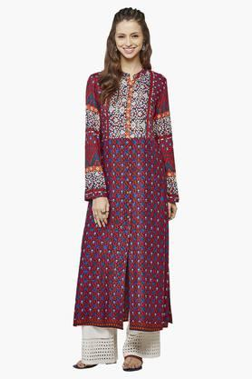 GLOBAL DESI Womens Mandarin Neck Printed Kurta