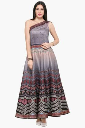 HYPNOTEX Womens One Shoulder Neck Aesthetic Printed Gown