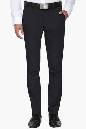 VAN HEUSEN SPORT Mens Tapered Fit 5 Pocket Solid Formal Trousers  ...