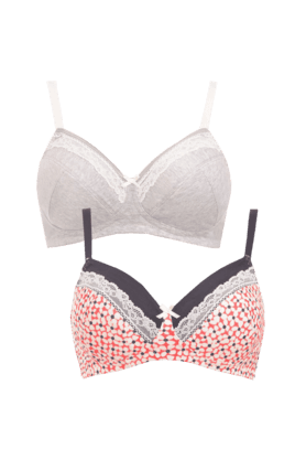 MOTHERCARE Women Cotton Printed Lacy Bra (- Pack Of 2)