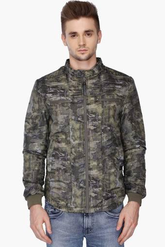 761eee1594496 Buy ED HARDY Mens Slim Fit Mao Collar Camouflage Jacket | Shoppers Stop