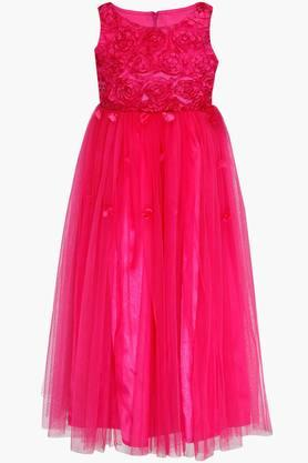 Girls Round Neck Solid Flared Maxi Dress