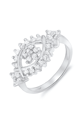 MAHIMahi Rhodium Plated You & Me Ring With CZ Stones For Women FR1100050R