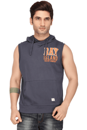 BAY ISLAND Mens Sleeves Hooded Neck Slim Fit Printed Sweatshirt