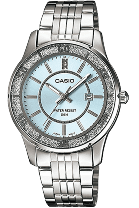 Enticer - Metallic Strap Watch with Sky blue Round Dial