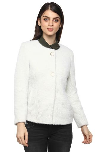 Womens Round Neck Stripe Knitted Coat