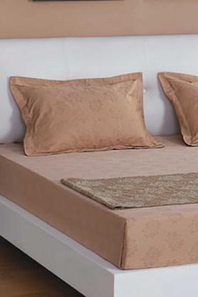 ST CLOUDBrown 300 TC Jacquard King Bedsheet With 2 Pillow Cover (Bedsheet Set (King XL)