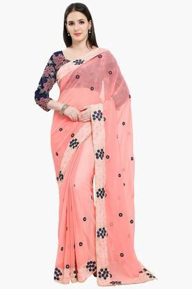 Women Faux Georgette Floral Embroidered Saree