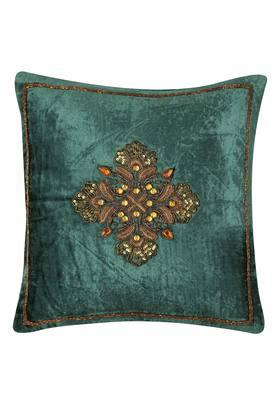 Square Slub Embellished Cushion Cover