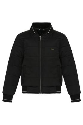 Boys Mao Collar Solid Quilted Jacket