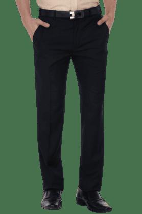 PARK AVENUEMens 4 Pocket Flat Front Slim Fit Solid Formal Trouser - 200769061