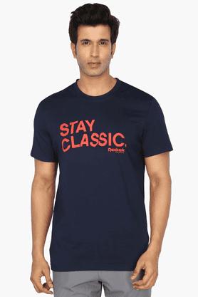 REEBOKMens Round Neck Short Sleeves Printed T-Shirt
