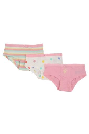 Girls Printed and Solid Briefs Pack of 3
