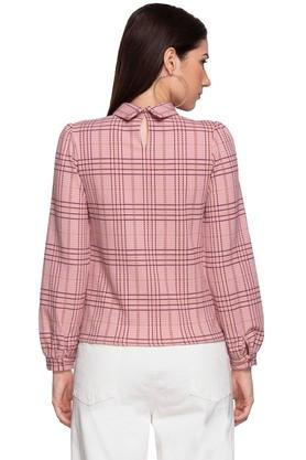 Womens High Neck Checked Top