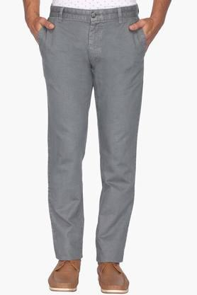 Mens Tapered Fit 4 Pocket Solid Chinos