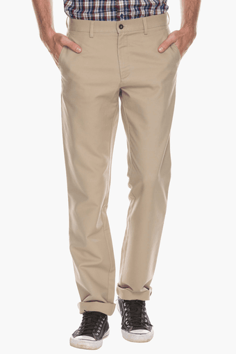 Mens Regular Fit Solid Formal Trousers