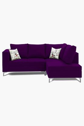 Purple Water Repellent Fabric Sofa (2 Seater - 1 Lounger)