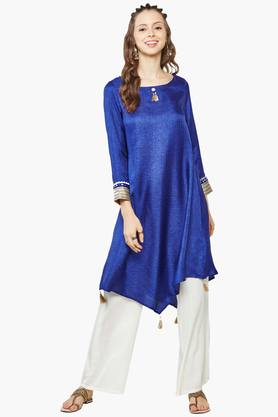 GLOBAL DESI Womens Round Neck Solid Asymmetrical Kurta