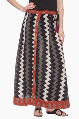 BOHEMYAN BLUE Womens Aztec Stripe A Line Long Skirt