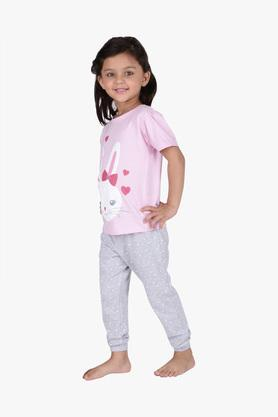 Girls Round Neck Bunny Print Tee Joggers and Shorts Set