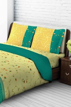 TANGERINE Cotton Floral King XL Bedsheet And Pillow Set - 201662979