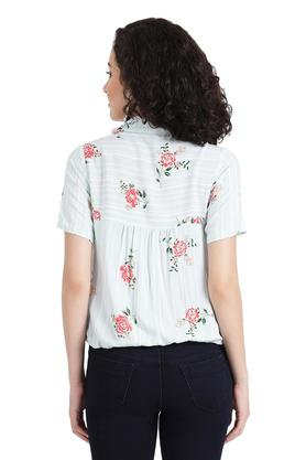 Womens Notched Collar Floral Print Shirt