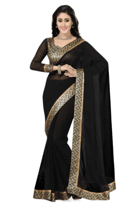 DEMARCAWomens Faux Chiffon Saree (Buy Any Demarca Product & Get A Pair Of Matching Earrings Free) - 200946941