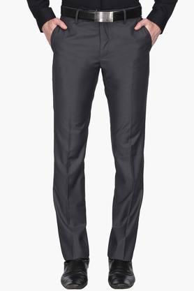 VAN HEUSEN Mens Slim Fit 4 Pocket Solid Formal Trousers  ...
