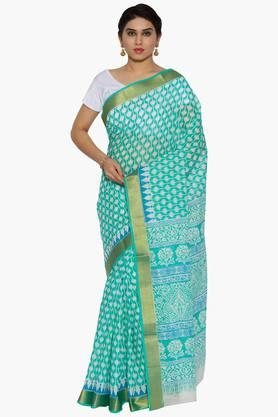 JASHN Women Ikat Stripe Print Cotton Saree