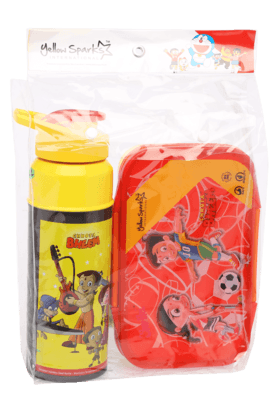 Unisex Chhota Bheem Tiffin Box and Water Bottle Combo Set