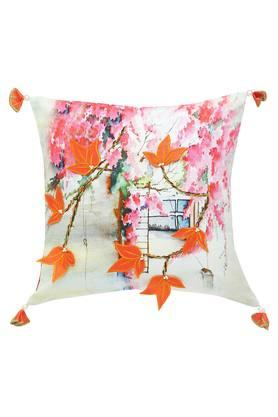 Square Floral Printed Applique Cushion Cover