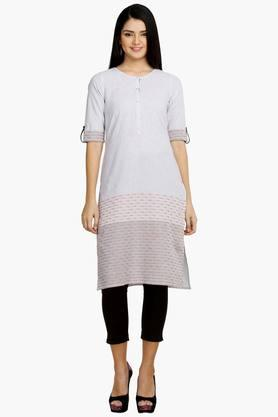 AURELIA Womens Round Neck Stripe Kurta