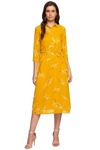 Womens Collared Floral Printed Midi Dress with Belt