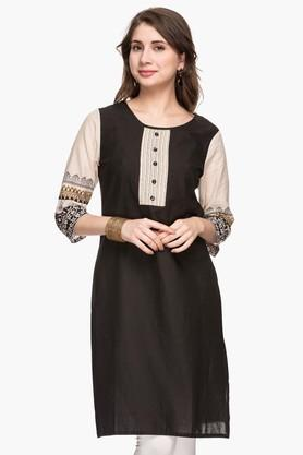 STOP Womens Round Neck Colour Block Kurta