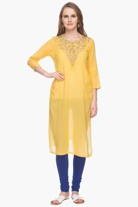 RS BY ROCKY STAR Womens Zari Embroidered Kurta