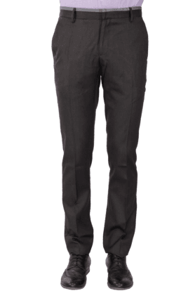 VDOT Mens Flat Front Slim Fit Solid Formal Trousers