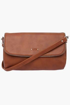 LIFE Womens Synthetic Leather Snap Closure Sling Handbag
