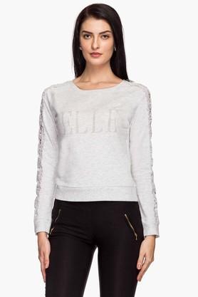 ELLEWomens Round Neck Slub Embellished Sweatshirt