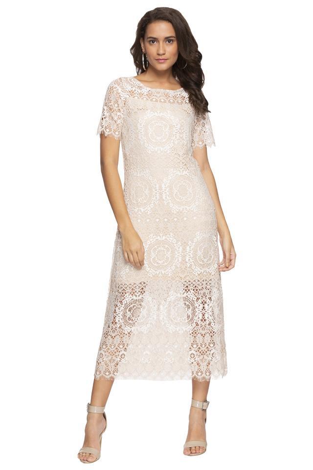 Womens Boat Neck Lace Midi Dress