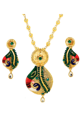 ZAVERI PEARLS Matte Finish Hand Painted Peacock Swirl Pendant Jewel Set - ZPFK2570
