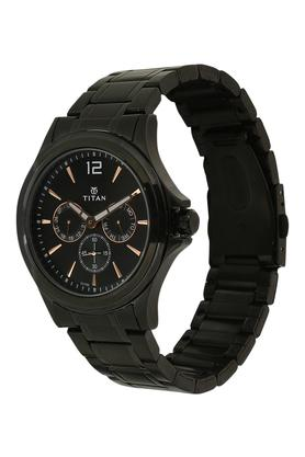 Mens Black Dial Metallic Multi-Function Watch - 1698NM01